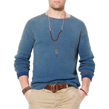 Polo Ralph Lauren Mens Indigo Blue Cotton Thermal Crewneck Sweater Large L (Polo Ralph Lauren Cotton Crewneck)