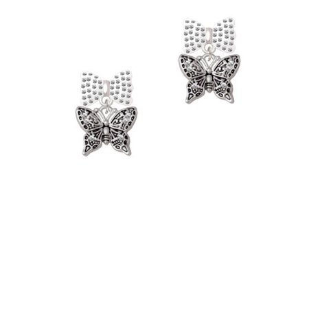 Small Antiqued Crystal Butterfly White Bella Bow Crystal Earrings