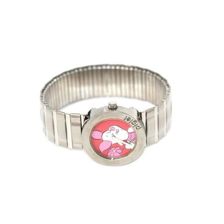 Disney Piglet Jewelry - DISNEY PIGLET WINNIE THE POOH SILVER ROUND STAINLESS STEEL EXPANSION WATCH