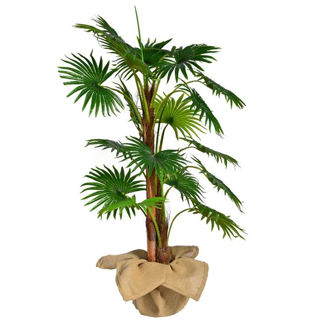 """48"""" Tall Fan Palm Tree Artificial Indoor/ Outdoor Faux Décor with Burlap Kit By Minx NY"""