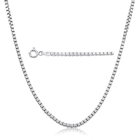 Tiffany Silver Plated Necklace - Box Chain Necklace Sterling Silver Italian .7mm Sturdy Thin Nickel Free 14 inch Rhodium Plated