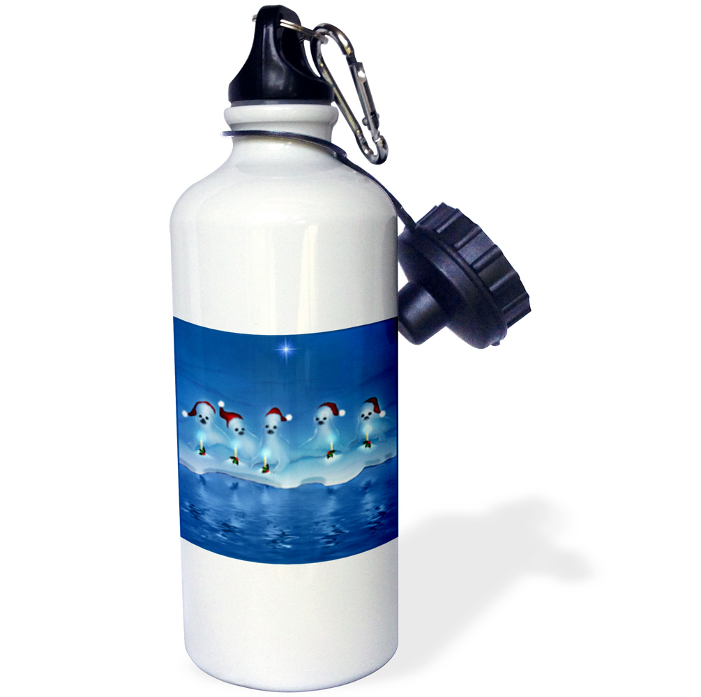 3dRose A group of adorable baby harp seals at Christmas time wearing Santa hats and glowing candles, Sports Water Bottle, 21oz