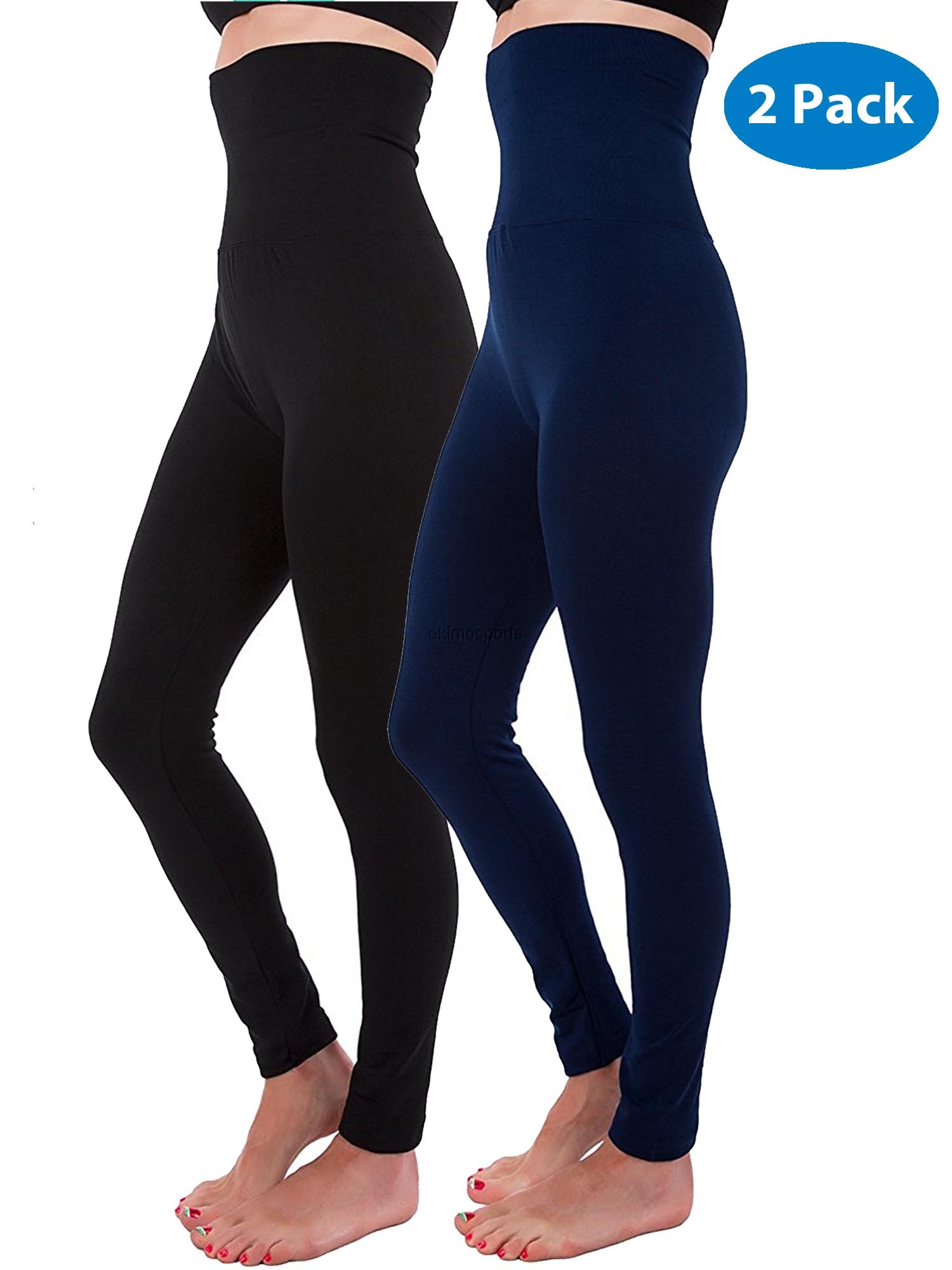61769b7a21a89 N&J Kuda-Moda - 2-Pack High Waist Tummy Control Full Length Legging  Compression Top Pants Fleece Lined - Walmart.com