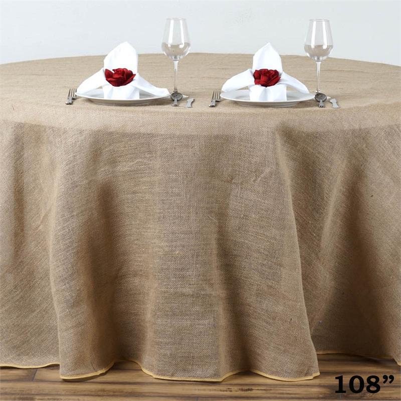 Balsacircle Natural Brown 108 Quot Burlap Round Tablecloth