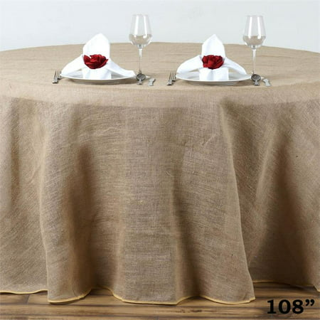 """BalsaCircle Natural Brown 108"""" Burlap Round Tablecloth - Country Chic Wedding Party Dining Room Home Table Linens"""