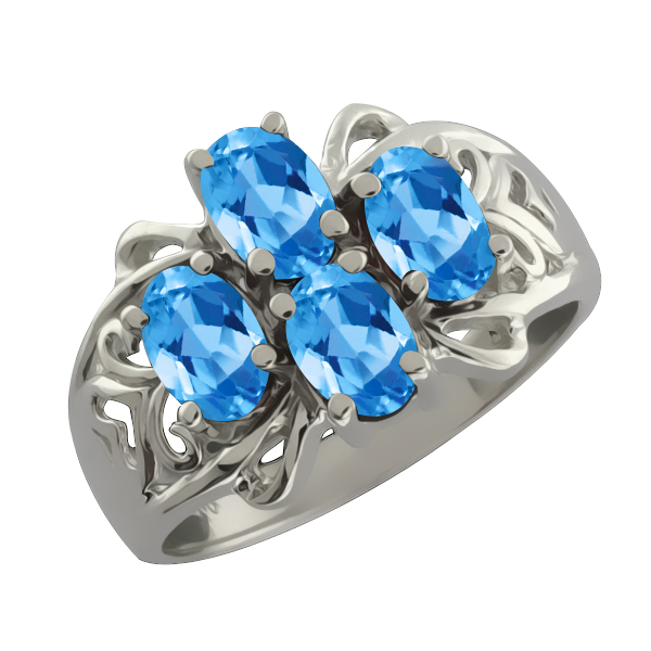 2.20 Ct Oval Swiss Blue Topaz 14k White Gold Ring