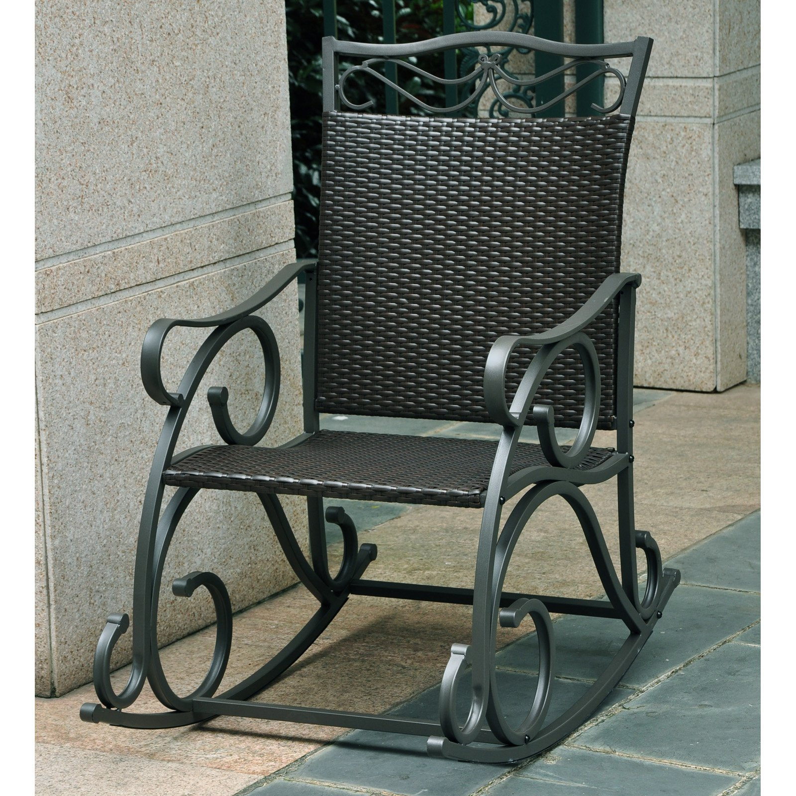 International Caravan Lisbon Resin Wicker Patio Rocking Chair