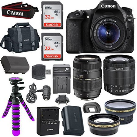 Macro Focusing Rail - Canon EOS 80D Digital SLR Camera Body (Black) with Built-In Wi-Fi Connectivity + EF-S 18-55mm f/3.5-5.6 IS STM Lens + Tamron Auto Focus 70-300mm f/4.0-5.6 Di LD Macro Zoom + 58mm Wide Angle Lens