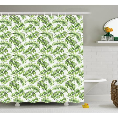 Palm Leaf Shower Curtain Exotic Pattern With Tropical Leaves In Watercolor Art Style Jungle Luau