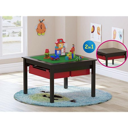 utex 2 in 1 kids construction play lego table with storage drawers and built in plate espresso. Black Bedroom Furniture Sets. Home Design Ideas