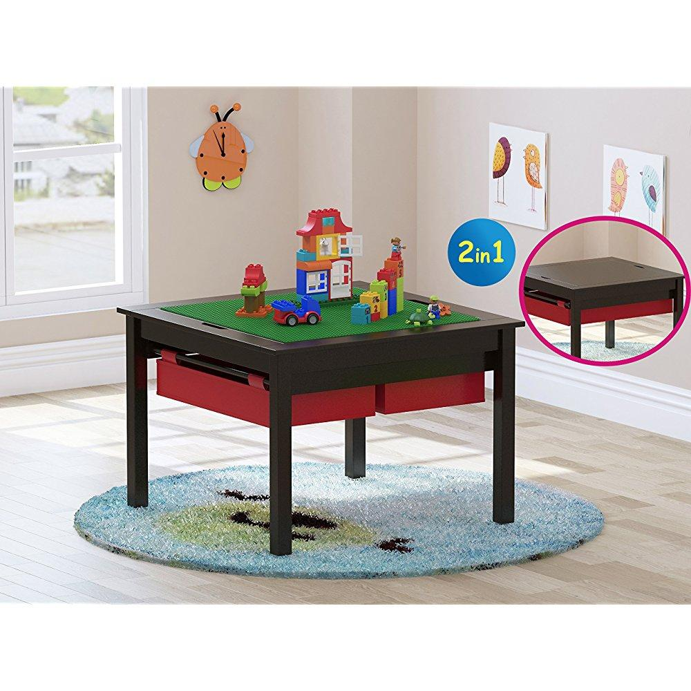 UTEX 2 In 1 Kids Construction Play Lego Table with Storage Drawers and Built In Plate,Espresso