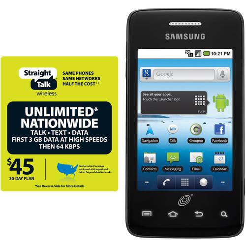 Straight Talk Samsung Galaxy Precedent Plus $45 Unlimited Card, Refurbished
