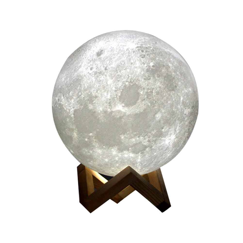 LED Night Light 3D Printing Moon Lamp Dimmable Touch Control USB Charging Light 8cm