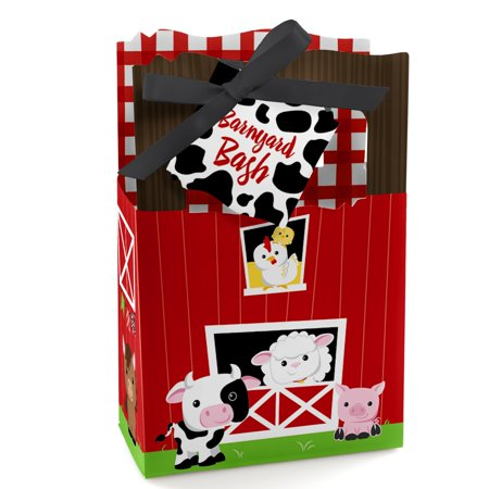Farm Animals - Baby Shower or Birthday Party Favor Boxes - Set of 12