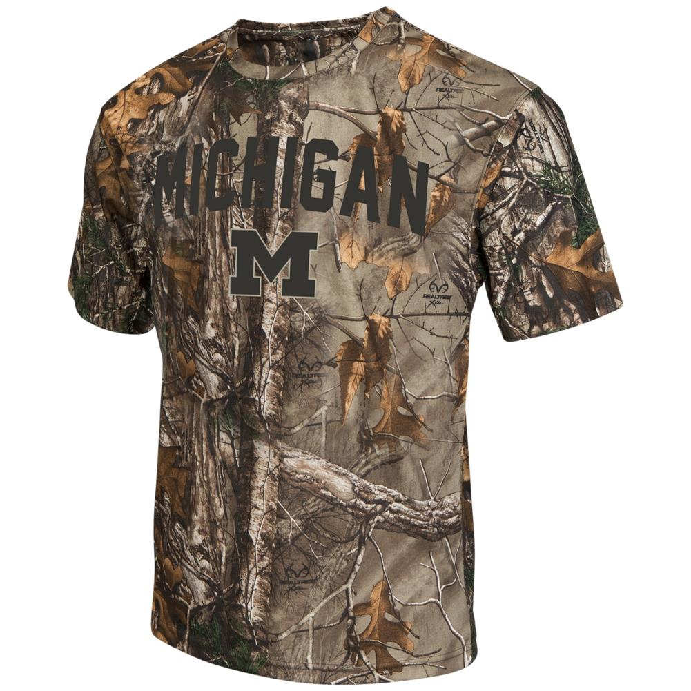 Men's Brown Tine Realtree Camo University of Michigan Wolverines T-Shirt