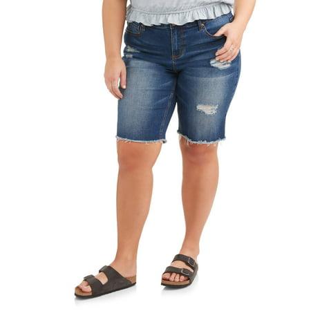 Distressed Spandex Shorts - Women's Plus Distressed Raw Hem Bermuda Shorts