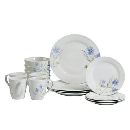Tabletops Gallery Wildflower Round 16pc Dinnerware Set, Floral Pattern