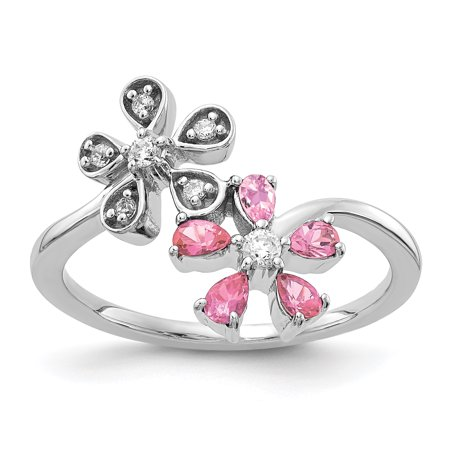14K White Gold Diamond & Pink Tourmaline Flower Ring (0.098Cttw)