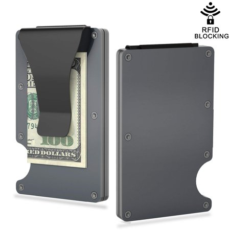 【Gifts for Him】Aluminum Metal Wallet, RFID Blocking Slim Money Clip ID Card Case
