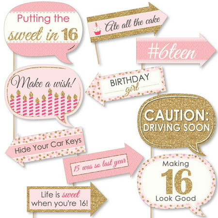 Funny Sweet 16 - 16th Birthday Party Photo Booth Props Kit - 10 Count