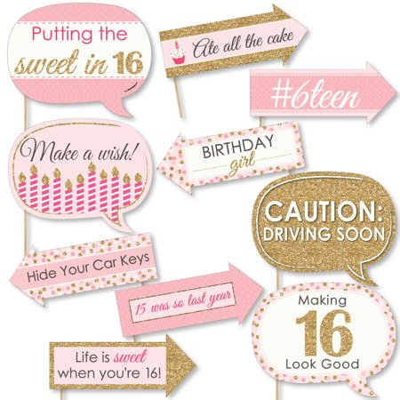 Funny Sweet 16 - 16th Birthday Party Photo Booth Props Kit - 10 Count (Sweet 16 Party)