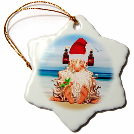 3drose funny beer lovers beach themed christmas with gnome in a drink hat snowflake ornament - Beach Themed Christmas Ornaments