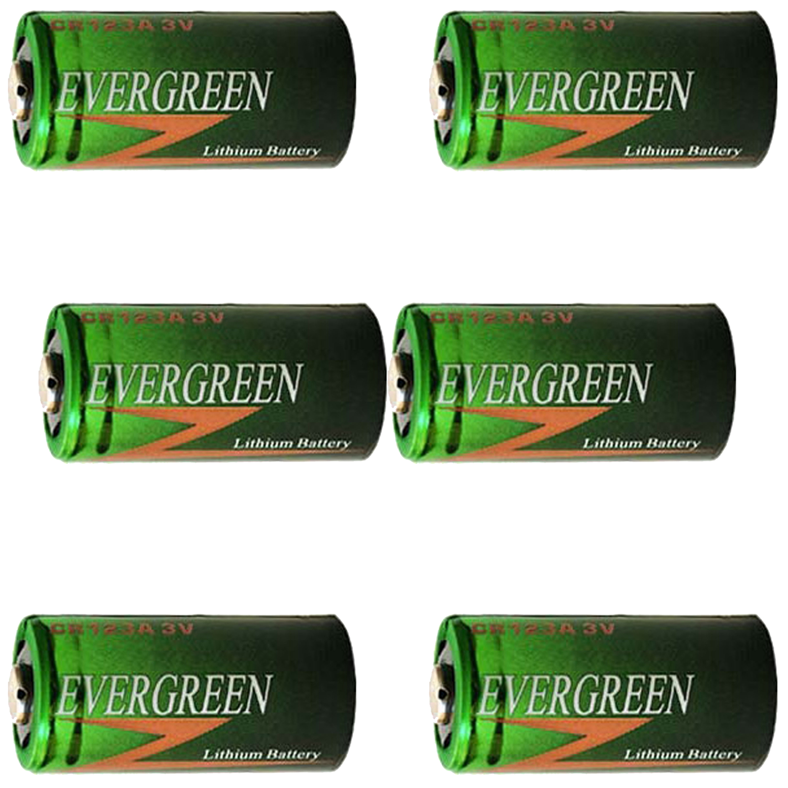 6pcs CR123 2/3A 3V Evergreen Lithium Batteries DL123A2 DL-123  DL-123AB  DLCR123