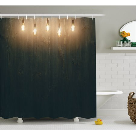 Industrial Shower Curtain Wooden Dark Interior Room With Classical Edison Innovation Fabric Bathroom Set Hooks Brown Yellow And Cinnamon