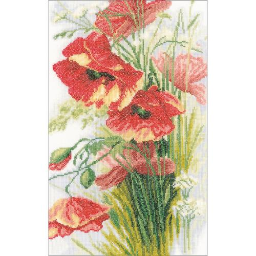 """LanArte Poppies On Linen Counted Cross Stitch Kit, 8"""" x 13.5"""", 30-Count"""