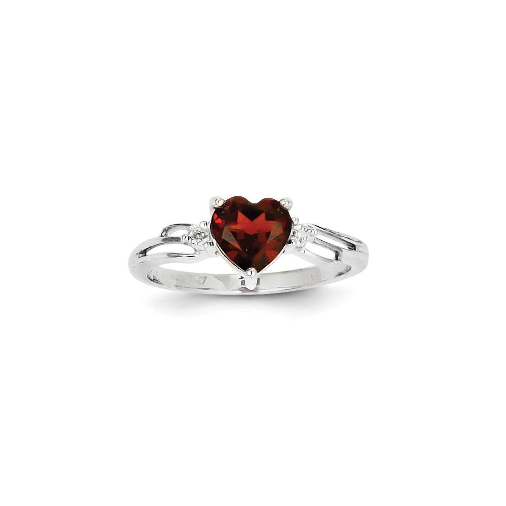 14k White Gold Diamond and Garnet Heart Gemstone Ring. Gem Wt- 1ct