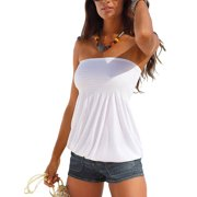 Women Ladies Boho Beach Casual Shirt Blouse Top Summer Ladies Sleeveless Strapless T-shirt Bandeau Boob Tube Tops Tank Ladies Holiday Party Shirt Blouse Vest  Blue S