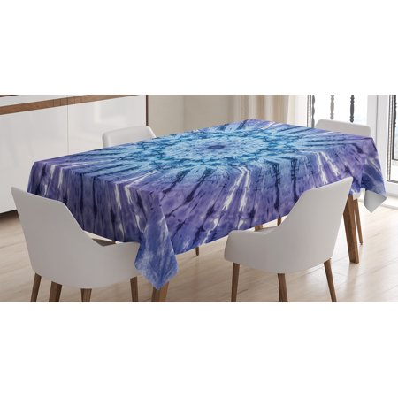 Tie Dye Decor Tablecloth, Original Circle Mandala Motif Centered Vibrant Spectral Color Motion Graphic, Rectangular Table Cover for Dining Room Kitchen, 52 X 70 Inches, Purple Blue, by Ambesonne (Center Table Decor)