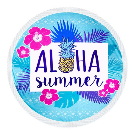 "Aloha Summer Multifunctional Round Beach Towel 58"" Diameter"