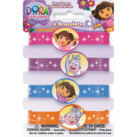 Dora the Explorer Rubber Bracelet Party Favors, 4-Count