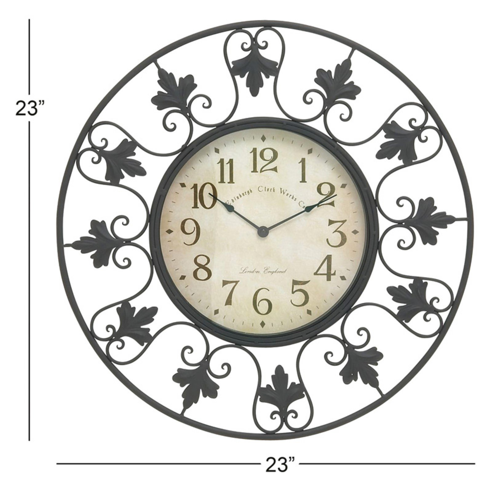 Edinburgh Wall Clock Large Numerals Tuscan Black Wrought Iron Office Home Decor