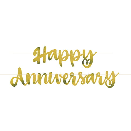 Gold Script Happy Anniversary Banner, 6ft, 2pc