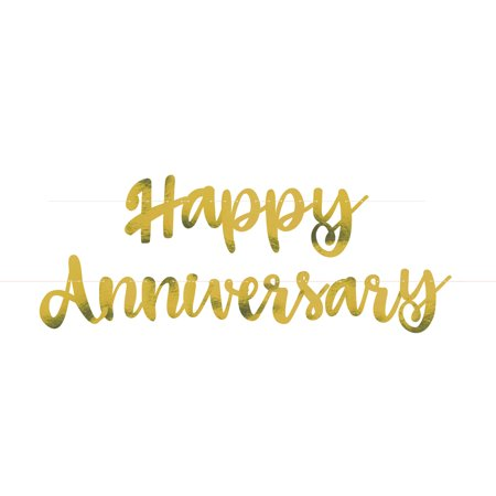 Gold Script Happy Anniversary Banner, 6ft, 2pc (Silver Wedding Anniversary Banners)