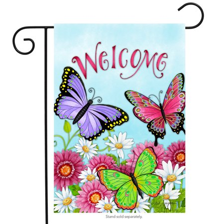 welcome butterfly spring garden flag spring daisy wildflowers 12.5