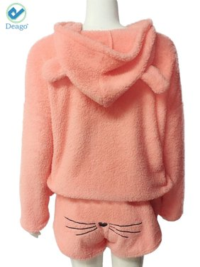 c545858489d Product Image Deago Women Cozy Flannel Pajamas Set with Pants Warm Winter  Hoodies Pullover Two Piece Cute Cat