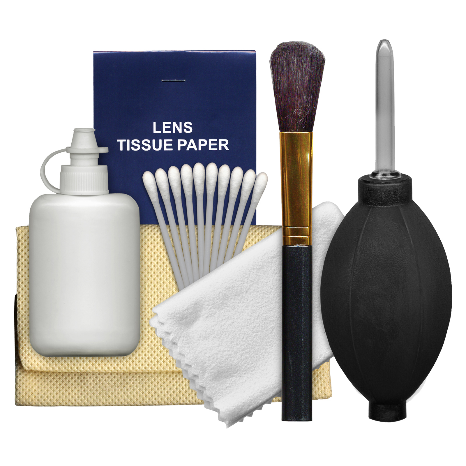 Precision Design 6-Piece Camera & Lens Cleaning Kit with Blower, Brush, Fluid, Cloth, Tissues & Tips