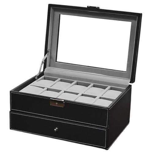 Mens 20 Watch Black Leather Display Case Organizer w/ Glass Top Box