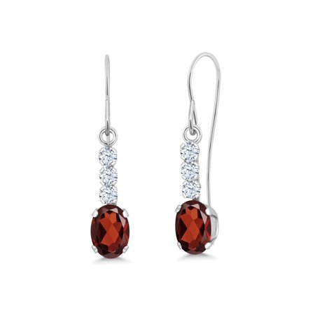 1.28 Ct Oval Red Garnet 10K White Gold Earrings