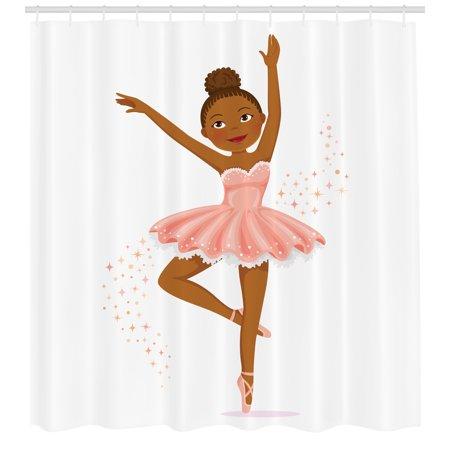 Ballerina Themed Baby Shower (Girls Shower Curtain, Ballerina Dancing Daughter Classic Performance Hobby Birthday Kids Baby Theme, Fabric Bathroom Set with Hooks, Rose Brown, by)