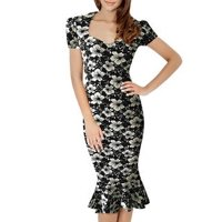 KettyMore Women Short Sleeved Retro Embossed Mermaid Dress (Black)