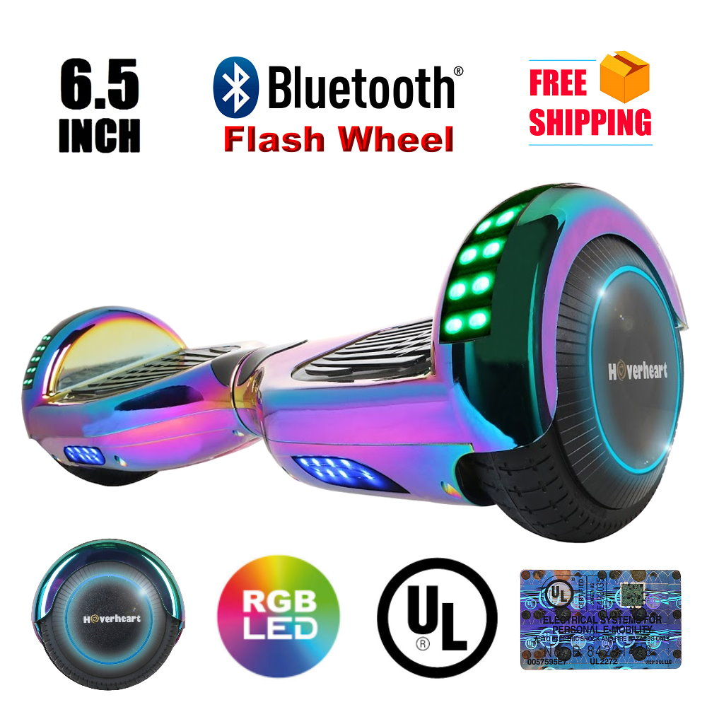 """UL2272 Certified Bluetooth 6.5"""" Hoverboard Two Wheel Self Balancing Scooter Chrome Rainbow"""