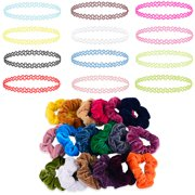BodyJ4You 32PC Choker Necklace Colorful Hair Bands Set Henna Tattoo Stretch Elastic Jewelry Teen Girl