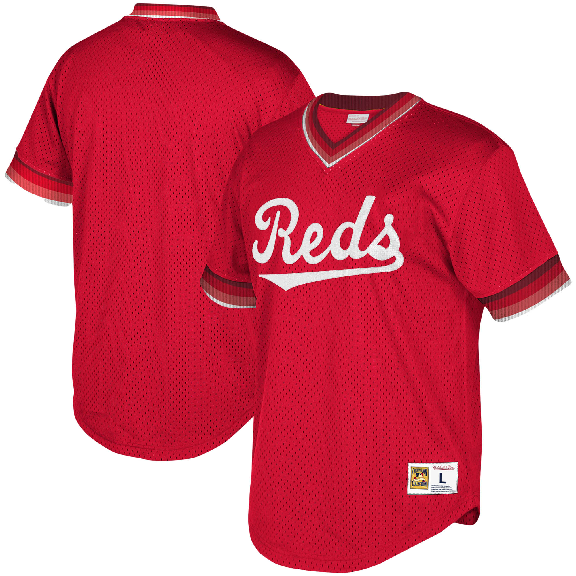 Cincinnati Reds Mitchell & Ness Youth Cooperstown Collection Mesh Wordmark V-Neck Jersey - Red