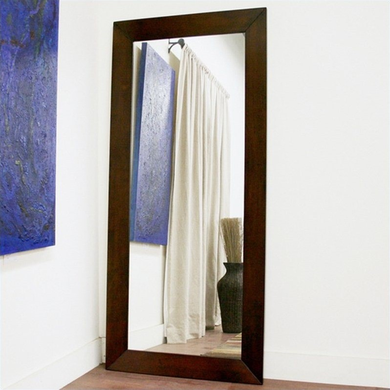 Baxton Studio Light Cappuccino Doniea Leaning Floor Mirror - 31.5W x 71H in.
