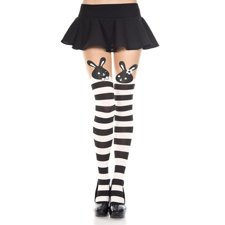 Print Striped Tights - Bunny print striped spandex pantyhose 7258-BLACK/WHITE