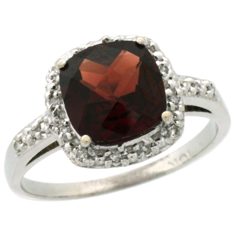 10K White Gold Diamond Natural Garnet Ring Cushion-cut 8x8mm, sizes 5-10 by WorldJewels